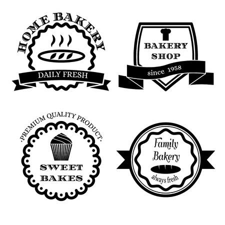 cupcake illustration: Set of black vector vintage logos, badges and labels for bakery isolated on white background. Stock Photo