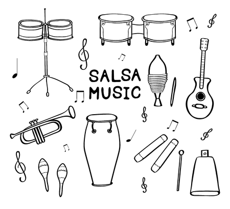 Set of hand drawn musical instruments isolated on white background. Vector illustration.  イラスト・ベクター素材