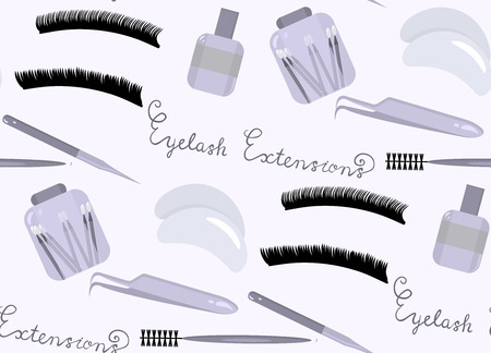 Seamless pattern with flat vector eyes with long lashes and equipment for eyelash extensions. Ilustração