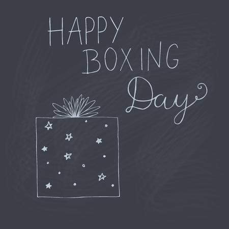 Happy Boxing Day vector doodle outline illustration on chalkboard.