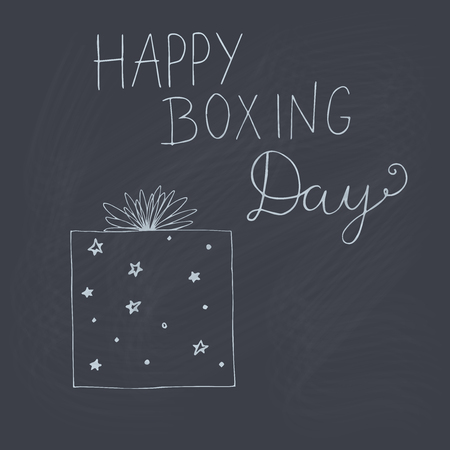 Happy Boxing Day vector doodle outline illustration on chalkboard.