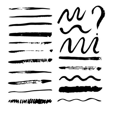 Collection of vector brush strokes. Grunge monochrome isolated illustrations. Çizim
