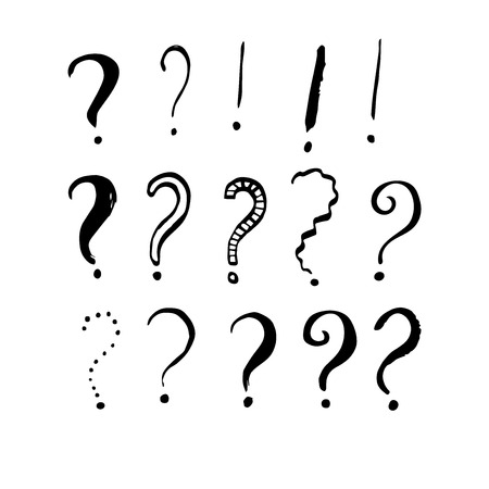 Set of grunge ink question and exclamation marks. Hand drawn vector illustration for your design.  Illustration