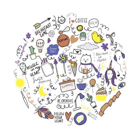 Set of hand drawn doodles with motivation lettering. Vector outline illustration, ideal for design of bullet journal, blog, web site etc.