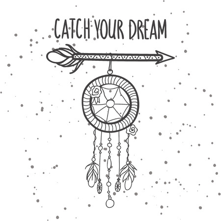 Dream Catcher Phrases Tribal Arrow With Feathers Jewelry And Phrase Catch Your Dream 24