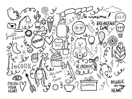 Set of handmade doodles with motivaton lettering. Vector outline illustartion, ideal fordesign of bullet journal, blog, web site etc.  Stock Illustratie