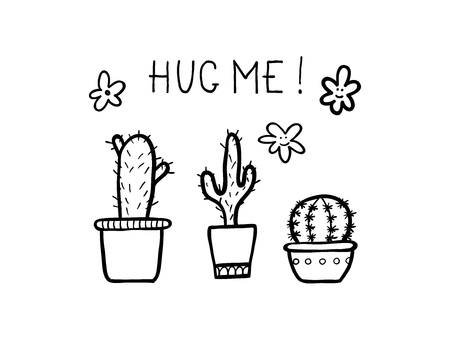 Set of handmade doodle cactus with phrase - hug me. Vector outline illustration, ideal for design of bullet journal, blog, website etc.