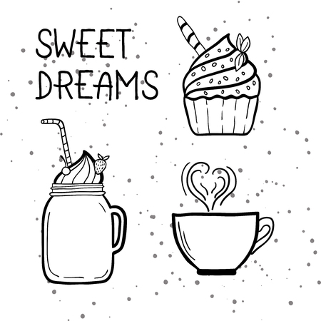 Set of doodle sweets with phrase - Sweet Dreams. Vector illustration.