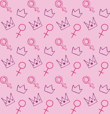 Feminist seamless pattern with Venus signs and crowns vector illustration for your design.