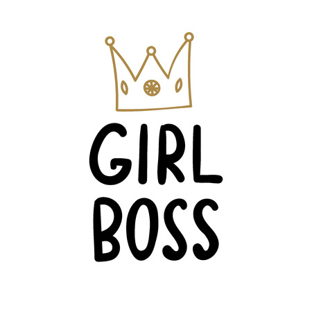 Feminist hand drawn phrase. Girl Boss, with golden doodle crown vector handmade illustration.