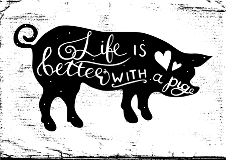 A Vector pig silhouette with hand drawn lettering isolated on white background. Cute illustration for your design.