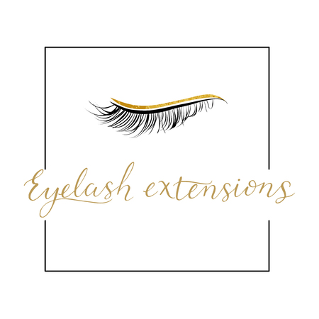 Eyelash extensions logo with modern lettering. Hand made calligraphy Vector illustration for your design.