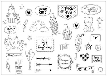 Set of outline objects with hand written phrases. Ideal for scrapbooking, kids rooms decoration, bullet journals. Illustration