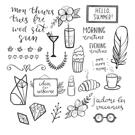 Set of hand drawn elements for design of bullet journal, scrapbook. Handmade vector illustration with French phrase, translation - I love holidays.