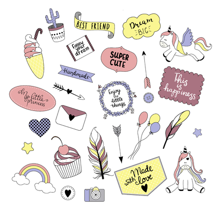 Collection of doodles - unicorns, cupcake, ice cream, rainbow, cactus etc. Vector illustration, ideal for design of greeting cards, bullet journal, scrapbooking.