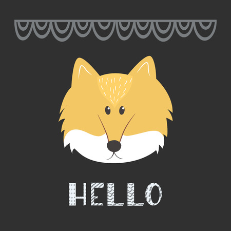 A cute fox head with text - Hello, in scandinavian style, isolated on black background. Vector illustration. Banque d'images - 114939698
