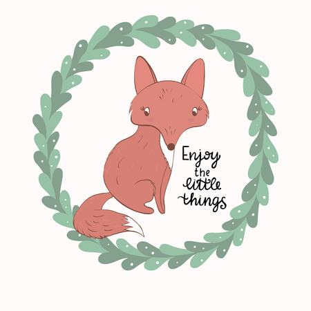 Cartoon fox with leaves wrreath and phrase - Enjoy the little things. Ideal template for design of greeting cards, t-shirt prints. Illustration