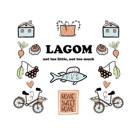 Lagom vector  elements- bicycle, fish, bun, home plant. Scandinavian lifestyle. Hygge concept. Ilustrace
