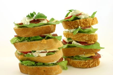Two high level sandwiches standing next to each other Stock Photo - 514204