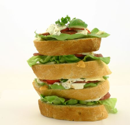 High fresh sandwich made from small sandwiches photo