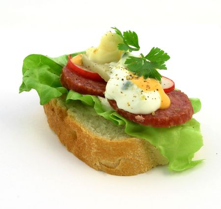 Close up view at small fresh sandwich with salami, souces, lettuce, and other ingredients photo