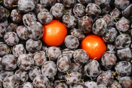 picture represents tomatoes throw onto with plums photo