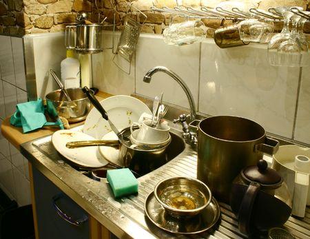 Puinhoop in de keuken nodig te wassen Stockfoto - 813200