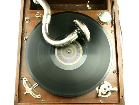 winder: Top view at vintage gramophone player with record