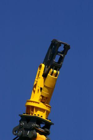 dismantling: Demolition ending on a blue sky background
