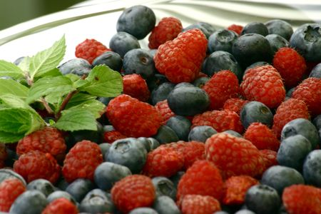 openair: Close up at fresh raspberry and blue-berry
