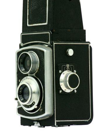 medium closeup: View at old manual photo camera on a white background