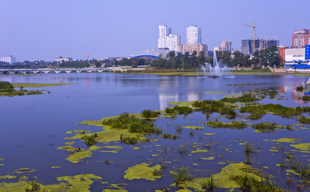 chelyabinsk: The flowering of the Miass river in the city of Chelyabinsk. Stock Photo