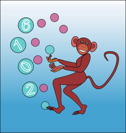 juggle: Happy New year of the monkey - juggling colored balls.