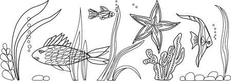 inhabitants: Inhabitants of sea: fish, star, seaweed.