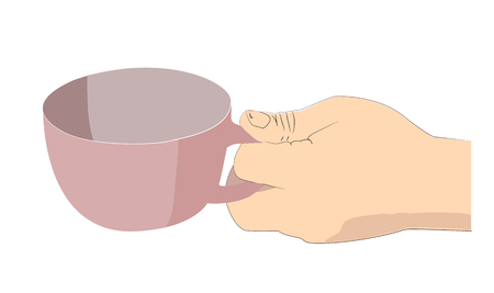 mans: Mans hand holds out the empty mug.