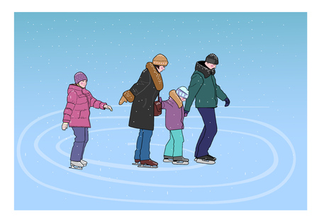 Parents with two children skate on the rink during a snowfall.