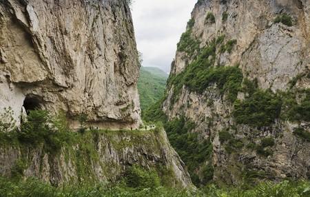 narrowly: Excursion to Chereksky gorge.The Caucasian mountains.Kabardino-Balkaria.Russia.