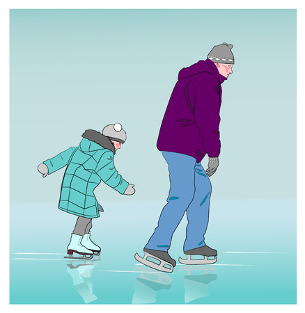 little skate: The little girl at the rink wants to overtake the big man.