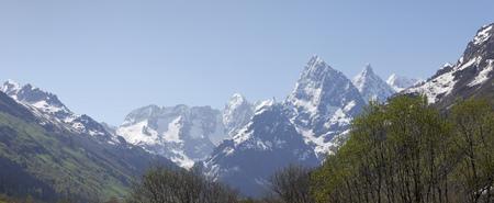 lofty: The snowy peaks of the Caucasus mountains.Karachay-Cherkessia.Russia Stock Photo