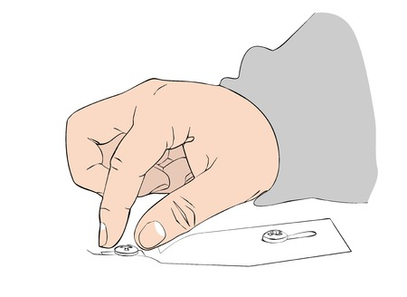 threaded: Mans hand inserts the bolt into the groove.Flat vector. Illustration