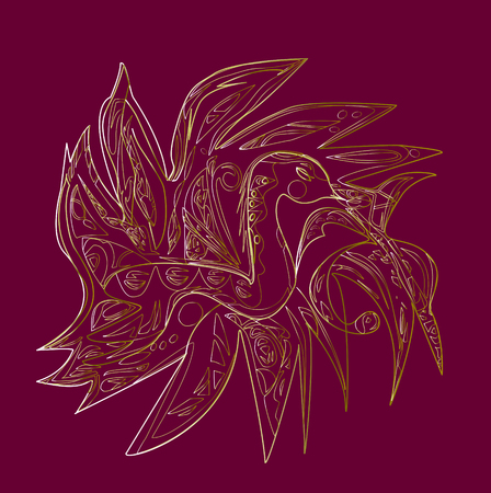 burgundy background: Fantastic bird Phoenix - golden silhouette on Burgundy background. Illustration