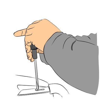 unscrew: Two mans hands with a screwdriver to Unscrew the screw.