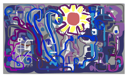 atmosphere construction: The sun in the industrial city.Graffiti.Abstraction. Illustration