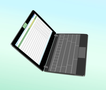 netbook: Touch flat laptop on a gradient colored background. Illustration