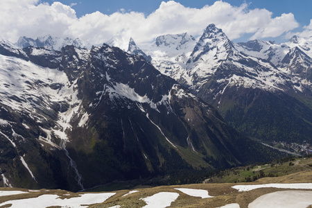 snowcapped: Views of snow-capped peaks from the cable car.Dombay.Russia.