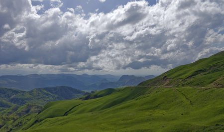 thick: Thick clouds over the mountains of the North Caucasus.Russia. Stock Photo