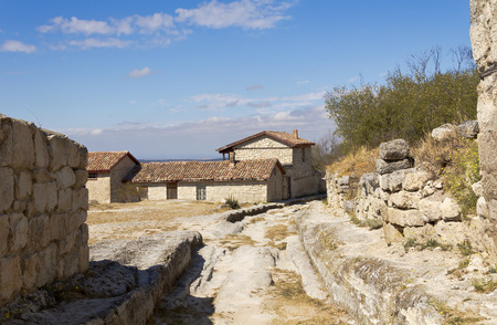 jewish houses: The medieval town-fortress Chufut-Kale, Crimea, Russia. Old 18th-century manor house on the main street.