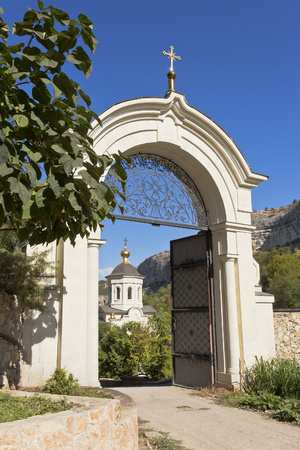 monastic: Gate before the entrance to the monastic grounds.Uspensky cave monastery in Bakhchisarai.Crimea.