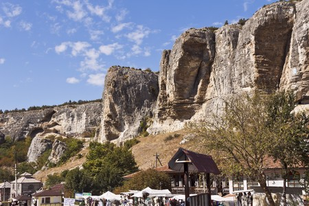 suburb: Starosillya - a suburb of Bakhchisaray is situated in a beautiful mountain gorge.In The Crimea. Stock Photo
