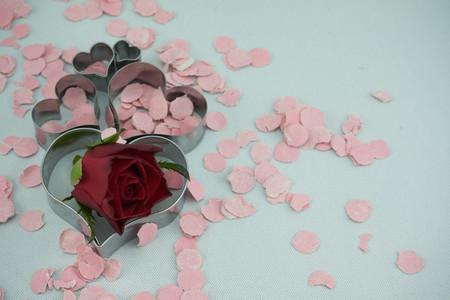 hearts with confetti Stok Fotoğraf